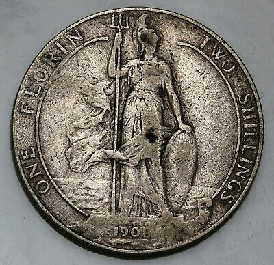 1908 UK Great Britain Silver Florin Coin Edward VII KM# 801, Sp# 3981