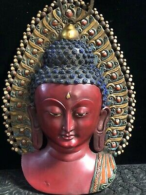 Tibetan Buddhist Temple Collection Old copper handmade Sakyamuni Buddha mask