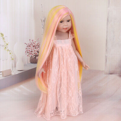 """Doll Wig for 18"""" American Girl Doll Pink Orange Straight Synthetic Hair Gift Hot"""