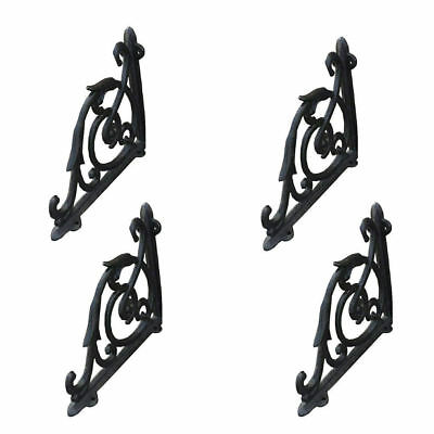 2 Pair Cast Iron Antique Style Brackets Garden Braces Rustic Shelf Bracket Black