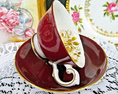 Royal Grafton Tea Cup And Saucer Red & Gold Rose Pattern Teacup Wine Red