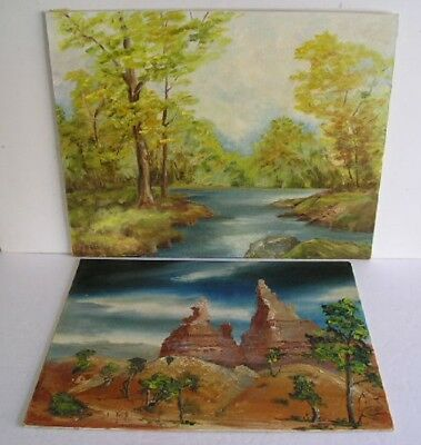 2 Vintage Landscape Oil Paintings On Hardboard Signed Lot Of 2