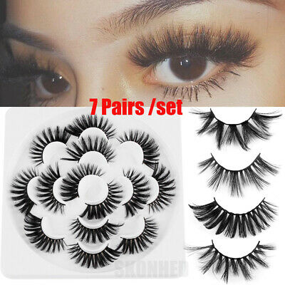 Pro 7 Pairs 6D 25mm Synthetic Hair False Eyelashes Wispy Crisscross Multi-layers