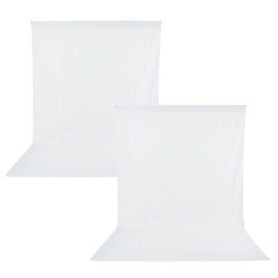 2pcs Photo Studio Muslin Collapsible White Backdrop Background 3x6M