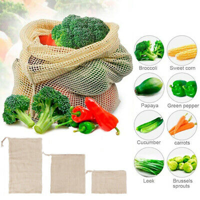 3 Size Reusable Natural Cotton Mesh Produce Bags Grocery Storage Shopping