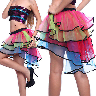 327531007 Rainbow Neon RaRa Rave Party Ballet Dance Ruffle Tiered Tutu Skirt Clubwear