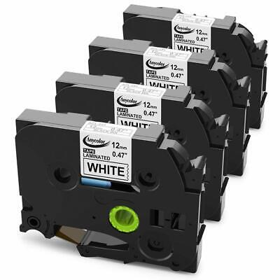 4PK Label tape For Brother P-TOUCH TZ-231 TZe-231 Black on White 26.2ft 12mm