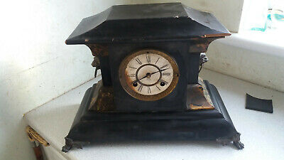 Antique American - New Haven - Wooden Mantel Clock - Slate Effect - Needs Work