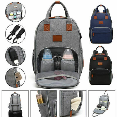 Baby Maternity Bag Large USB Port Nappy Diaper Changing Backpack Mummy Rucksack