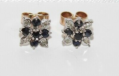 Vintage 9ct Gold Sapphire & Diamond Cluster Stud Earrings - Solid 9K Gold