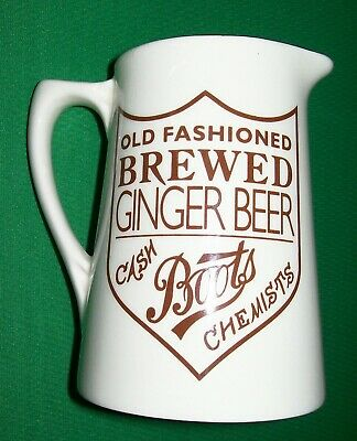Boots the Chemist Advertising Jug ~ Old Fashioned Brewed Ginger Beer ~ Pristine.