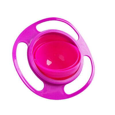 Creative 360 Rotating Spill Proof Gyro Baby Children Food Feeding Bowl Dish Pink