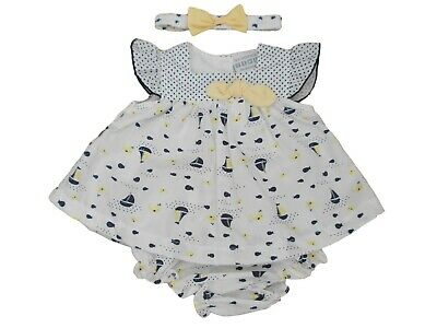 0a679d4f38f08 BNWT Baby Girls navy white sailing ship summer dress outfit clothes NB 0-3 3