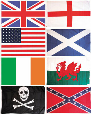 1.5m x 0.9m National Country Flag Rugby Football Cricket NEW 5 X 3FT Flag