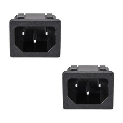 C14 Panel Mount Plug Adapter AC 250V 10A 3 Pins IEC Inlet Plug Socket 2pcs