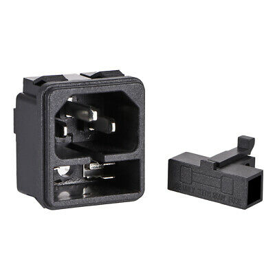 C14 Panel Mount Plug Adapter AC 250V 10A 3 Pins IEC Inlet Plug Power Socket