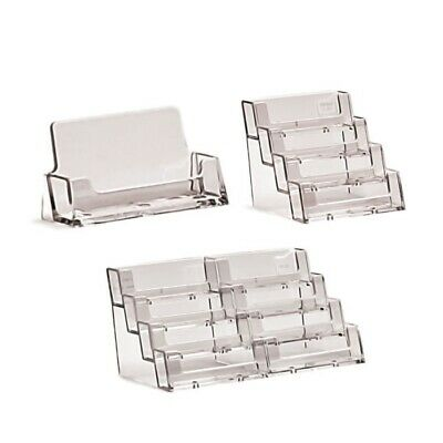 Business Card Holders Acrylic Display Stand Retail Counter Office Desk Dispenser