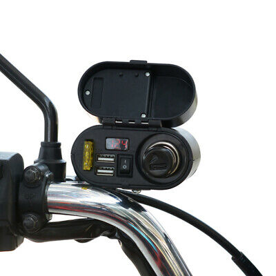 12V Motorcycle ATV Quad Bike Dual USB Charger Socket On Off Switch Adapter Cable
