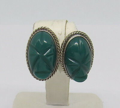 925 Sterling Silver Mexico Carved Jade Face Mask Screw Back Earrings