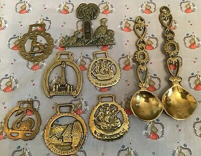 Job Lot / Collection Vintage Brass Love Spoons / Horse Brasses