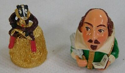 2 Novelty Warwick Models Painted Pewter Thimbles
