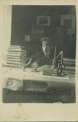 Young scientist w tools microcsope antique photo