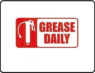 """Grease Daily Equipment Maintenance Safety Vinyl Decal 1.5"""" X 3"""""""