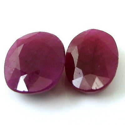 11.2Ct 2pc Lot of Real Natural Red Ruby Oval Faceted Gemstones