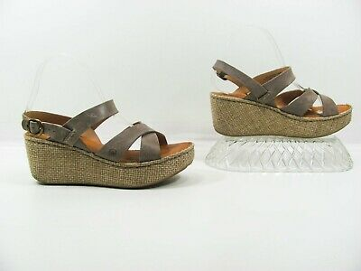 2e1461195374 BORN TERA WOMEN Brown Wedge Slingback Sandal Shoe 8M Pre Owned MJZ ...