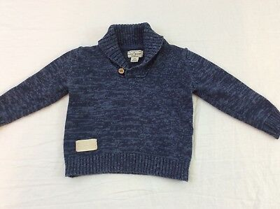 Lucky Brand California Toddler Boys Size 2T Dark Blue Cardigan Pullover Sweater