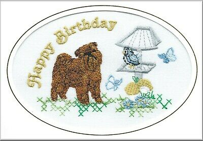 Griffon Bruxellois Birthday Card Embroidered by Dogmania - FREE PERSONALISATION