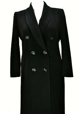 Fleurette Pure Cashmere Double Breasted Full Length Coat 6 Small Shawl Black vtg