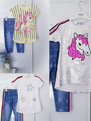 Girls Set Unicorn Top And Legging 2 Piece Set Glitter New Kids Age 4-14 Yrs
