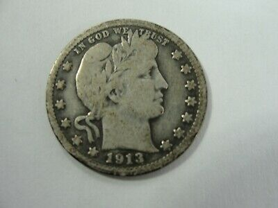 1913 U.S. Barber Quarter Silver Coin - Strong Detail *