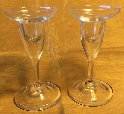 Vtg Pair LENA BERGSTROM? / Orrefors Etched Signed Crystal Glass Candle Holders
