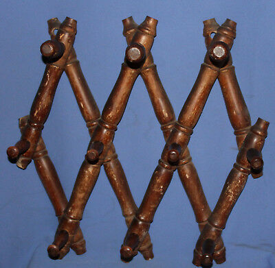 Antique hand made wood wall hanger folding clothes rack