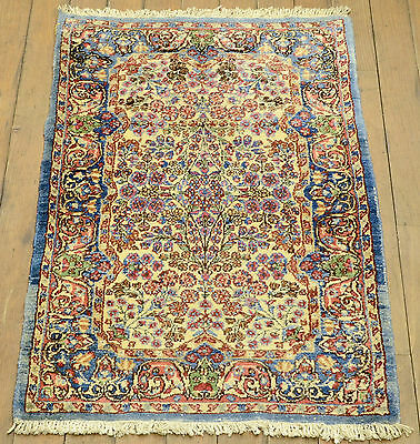 RRA 2x3 Semi-Antique PersianKerman Floral  Ivory Blue Collector Rug 011381