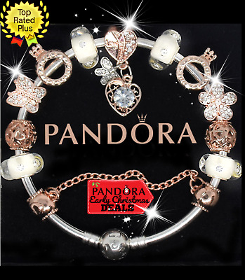 Authentic PANDORA Charm Bracelet Silver Gold Heart with European Charms.New