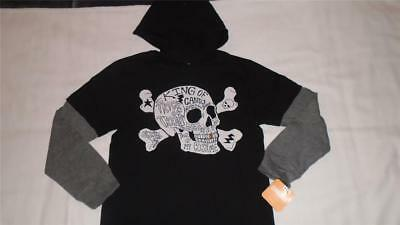 NEW Boys Size 5 Gymboree Hooded Halloween Shirt Black w/ Skull MSRP $22 NWT