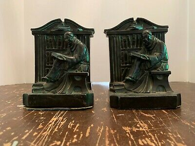 Antique 1920 Aronson Monk Reading Book Library Cast Metal Bookends