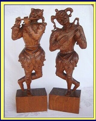 Antique Carved Wood Statues Pair Jester Musician Figures Victorian (3953)