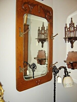 Antique Oak Beveled Mirror with Applied Carving with 4 Hooks. 8359A
