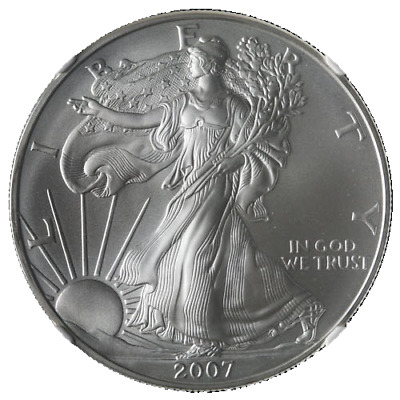 2007-P Silver American Eagle $1 NGC MS70 Brown Label Scales Right - STOCK