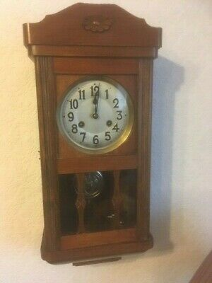 1930's Oak cased chiming wall clock