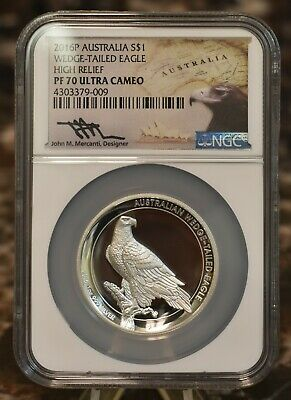 2016 High Relief Wedge Tailed Eagle NGC PF70 ULTC Mercanti Australian $1 Silver