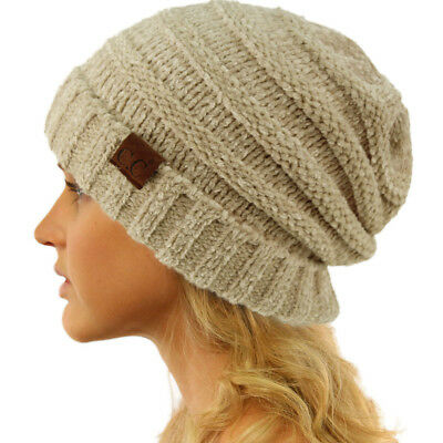 CC Winter Trendy Warm Oversized Baggy Stretchy Slouchy Beanie Hat Chenille Beige