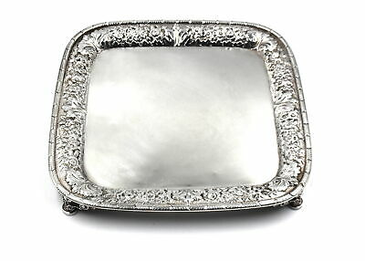 ANTIQUE TIFFANY & CO FLORAL REPOUSSE FOOTED VANITY TRAY STERLING SILVER c1882