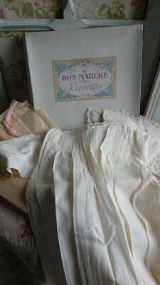 SWEET ANTIQUE FRENCH PARIS LAYETTE & EMBROIDERED BABY GOWN & BIBS c1900