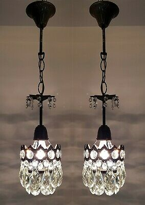 Matching / Pair of Antique Vintage Brass & Crystals French Small Chandelier Lamp