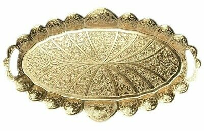 "Large 14"" Oval Elegant Turkish Etched Brass / Gold Serving Tray NIB"